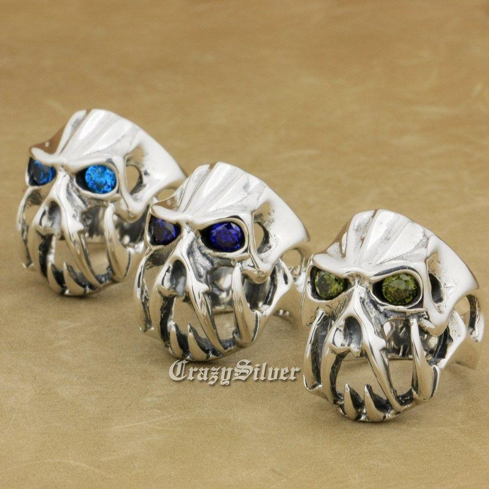 US Size 8 to 14 Devil Alien CZ Eyes Skull Tiger Tooth 925 Sterling Silver Mens Biker Rocker Punk Ring 8V104 devil skull alloy biker ring