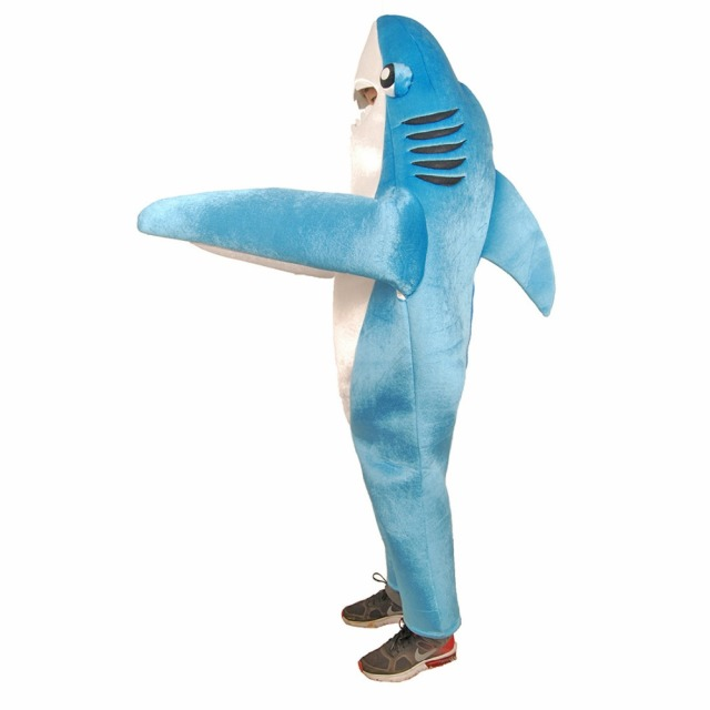 kids shark costume cute mascot costume blue funny shark cosplay fleece fullbody animal costume halloween costume - Halloween Costume Shark