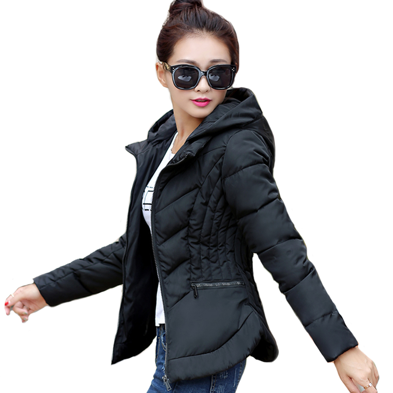 2019 Fashion Short Winter Jacket Women Slim Female Coat Thicken Parka Cotton Hooded Fur Collar candy-colored Ladies Jacket
