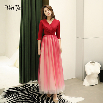 weiyin 2019 New Wine Red Evening Dresses Tulle A-line Lace Half Sleeve Long Formal Evening Ladies Gowns Elegant Lange WY1564