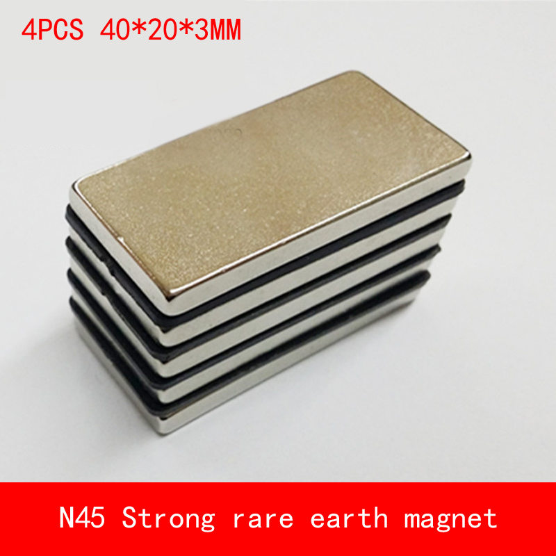 4PCS 40*20*3mm N45 Strong magnetic force NdFeB rare earth permanent magnet plating Nickel 40X20X3MM