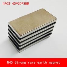 4PCS 40*20*3mm N45 Strong magnetic force NdFeB rare earth permanent magnet plating Nickel 40X20X3MM цена и фото