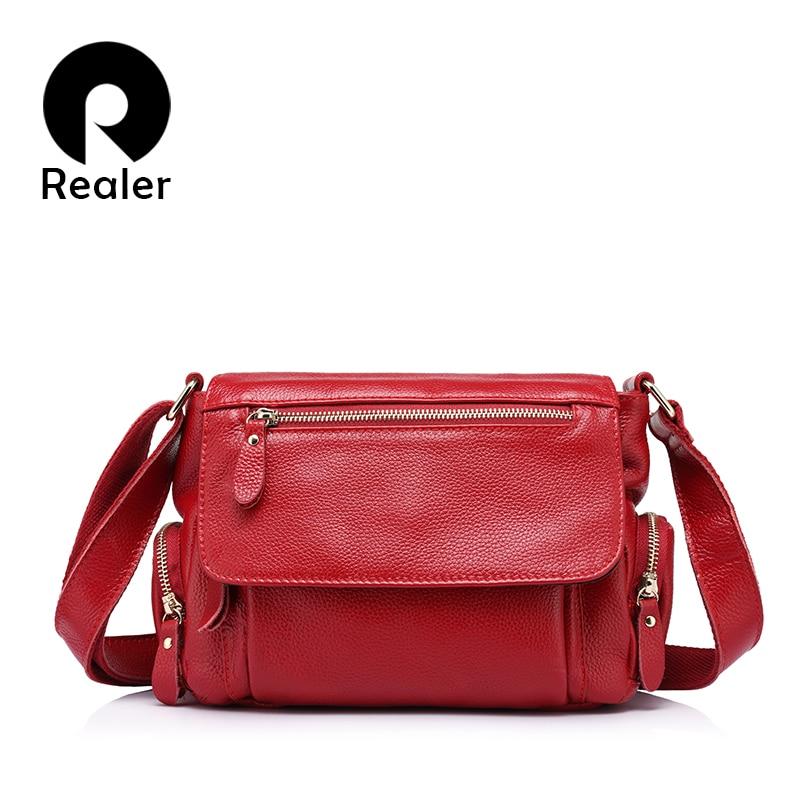 REALER women bag women genuine leather shoulder bag female luxury handbags women high quality messenger bags
