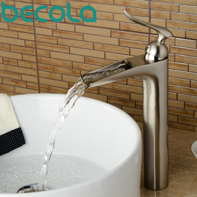 free shipping brushed nickel basin faucet hot and cold water waterfall faucet bathroom brass tap LT-603L free shipping luxury three piece bathroom faucet brass chromed basin tap wall mounted waterfall faucet lt 303