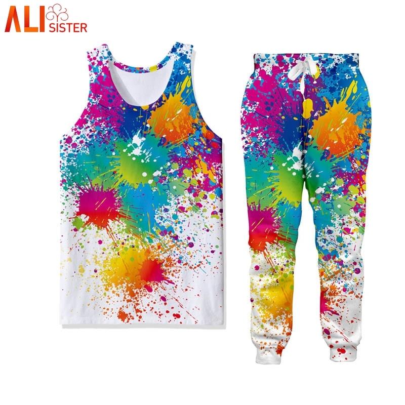 Alisister 2 Pieces Suits Tank Top Sweatpants 3D Print Mens Vest Trousers Casual Fitness Harajuku Tracksuit Suits Summer Autumn