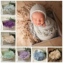 New Baby Photo Shoot Posing Wool Blanket For Newborn Photography Props Fotografia Basket Filler Flokati Photoshoot Accessories