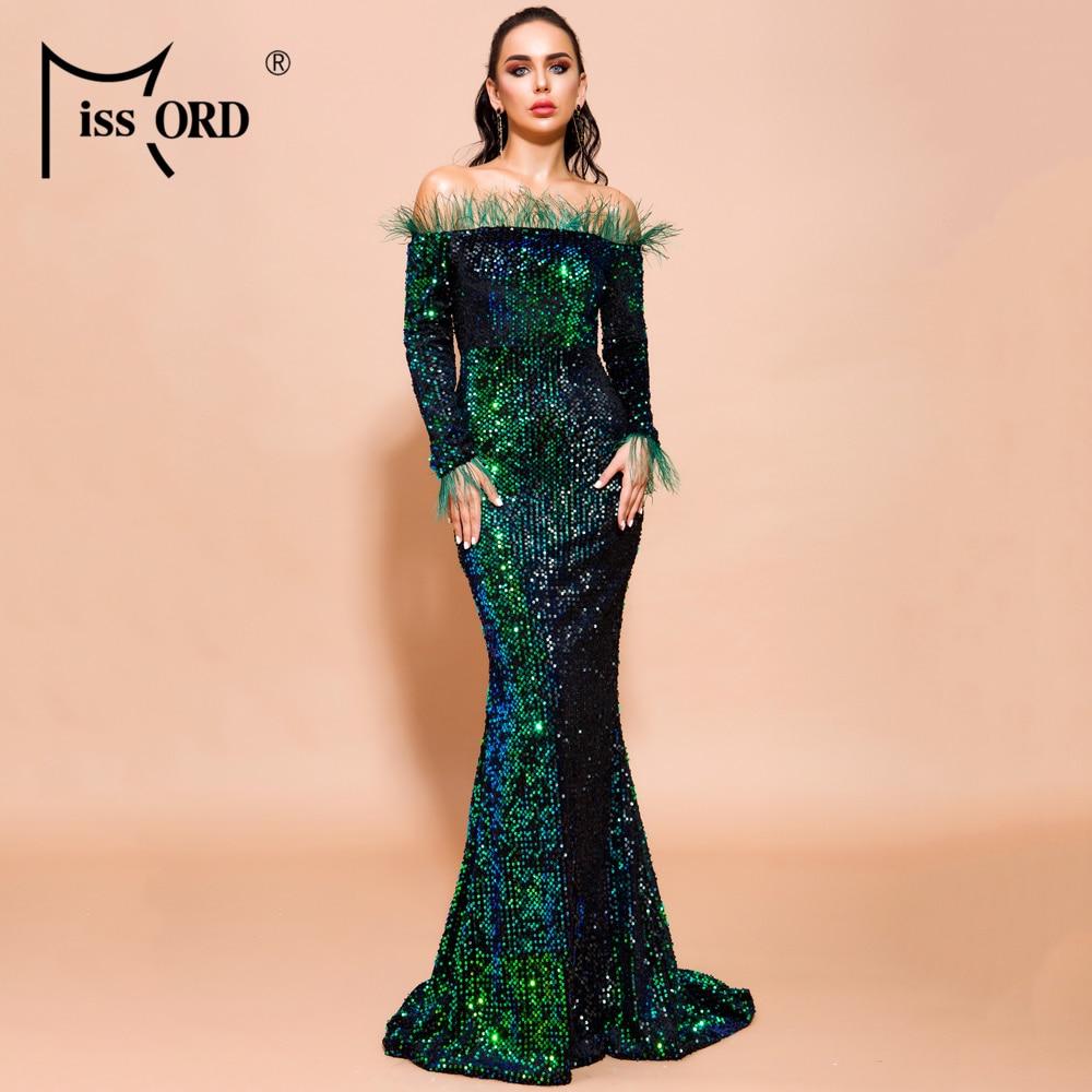 Missord 2019 Women Sexy Off Shoulder Feather Long  Sleeve Sequin Floor Length Evening  Maxi Reflective Dress Vestdios  FT19005-2