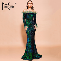 Missord 2019 Women Sexy Off Shoulder Feather Long Sleeve Sequin floor length Evening Maxi Reflective Dress Vestdios FT19005 2