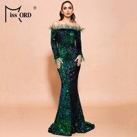 Missord 2019 Women Sexy Off Shoulder Feather Long Sleeve Sequin floor length Evening Maxi Reflective Dress Vestdios FT19005 2