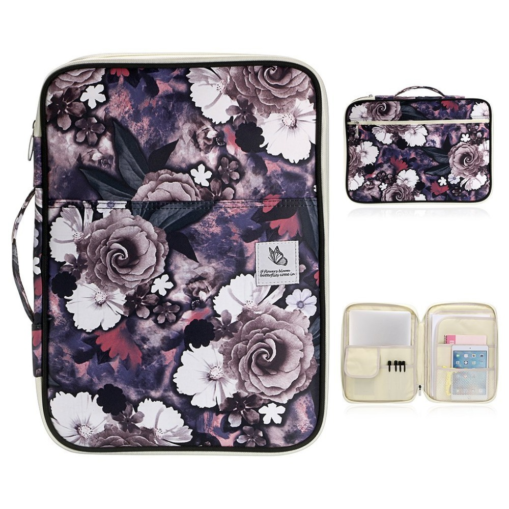 Daianyw Multi Functional A4 SizeDocument Bag Portfolio Organizer Case Zippered Travel Pouch for Notebook Documents iPads 13