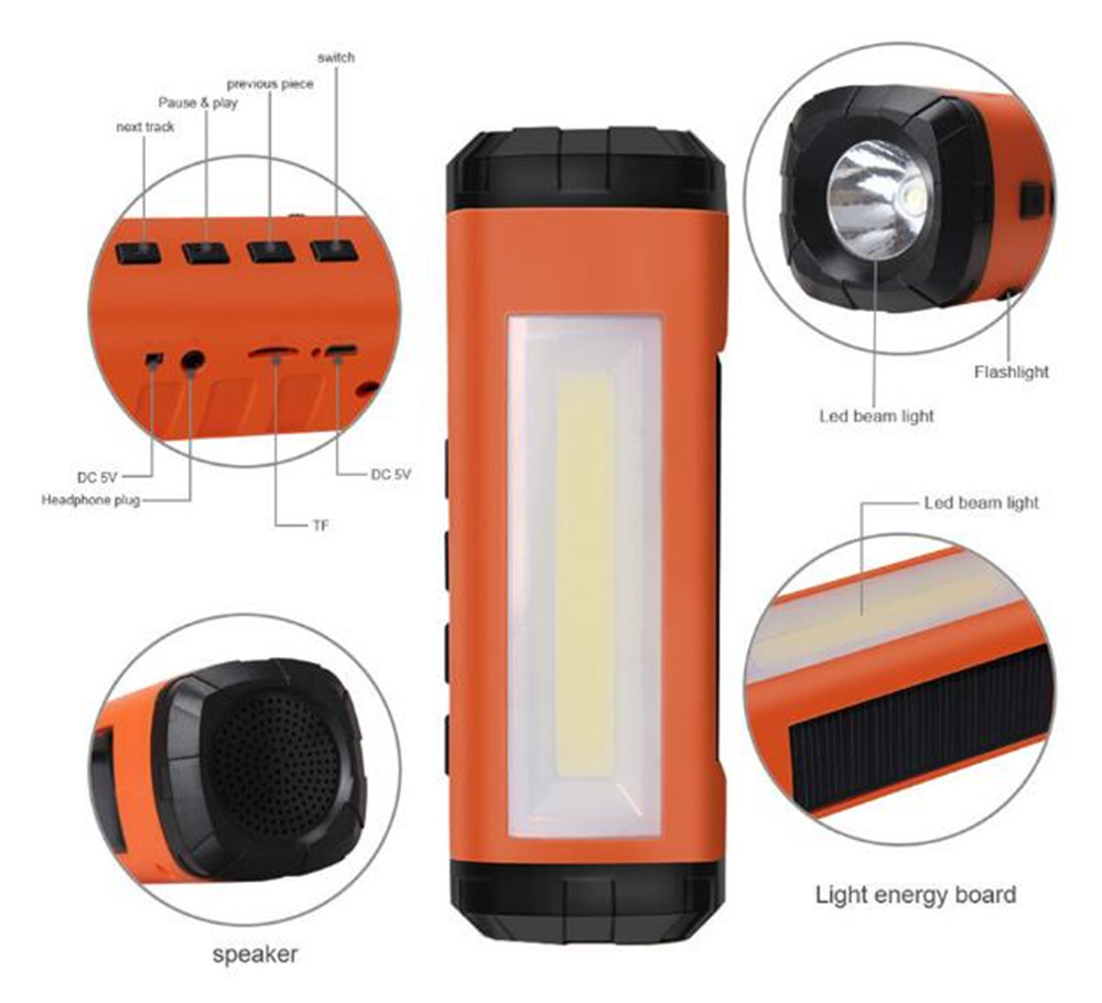 MINI Portable Wireless Bluetooth Speaker LED Flashlight Portable Speaker Player Support FM Radio TF Card Solar Energy Charger