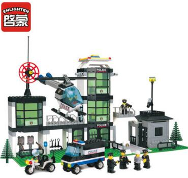 110 police station Model building blocks kits compatible with Legoe city 1084 3D Educational model building toys