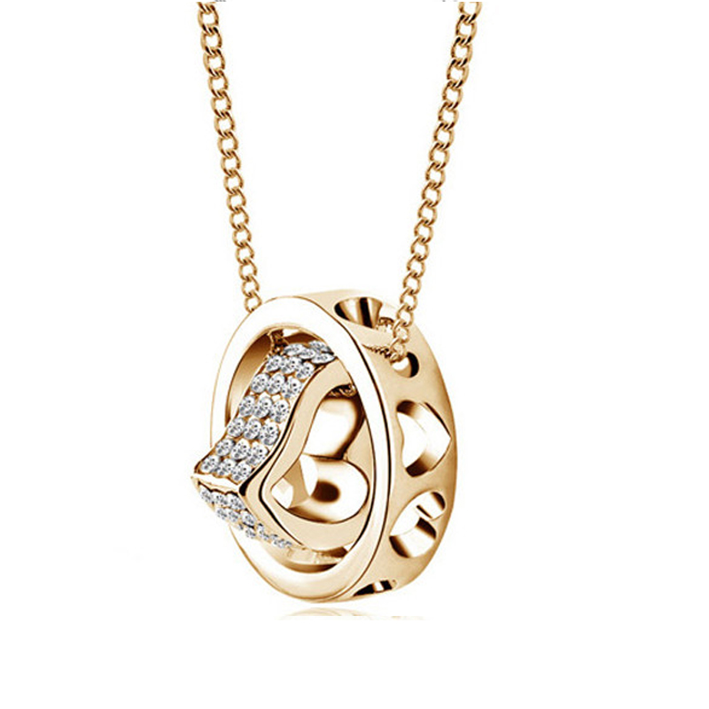 20738c20f8cb Cnaniya 6 color cristal círculo corazón cadena colgante collar mujeres  Collier moda 2016 Ketting collares y colgantes