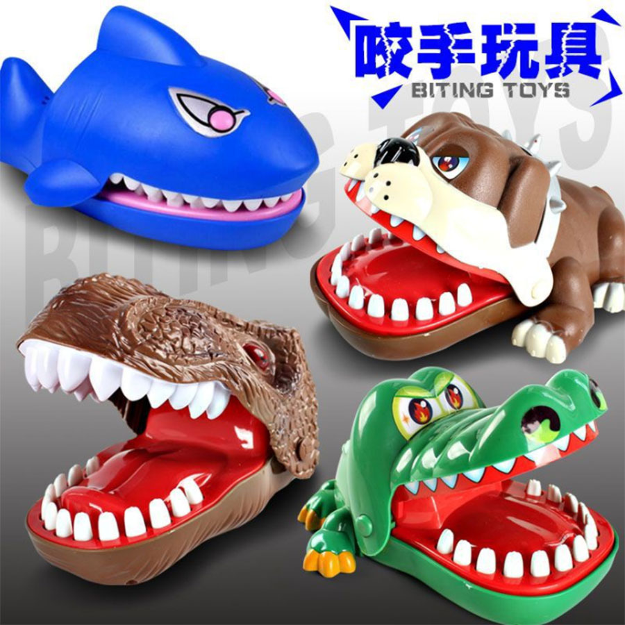 Big Size Dinosaur Large Bulldog Crocodile Shark Mouth Dentist Bite Finger Game Funny Novelty Gag Toy for Kids Children Play Fun ...