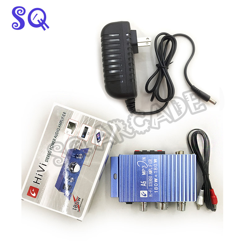 Free Shipping Audio Bass Amplifier With Adpater  BASS AMP Arcade Machine Parts Game Machine Accessories Arcade Game Cabinet