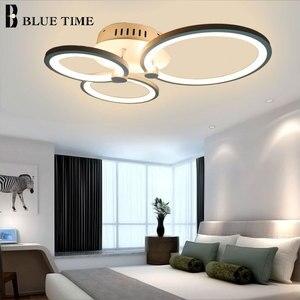 Image 5 - White&Black Modern LED Chandelier Lustre For Living Room Light Bedroom Dining room Acrylic Ceiling Chandelier Lighting Luminaire