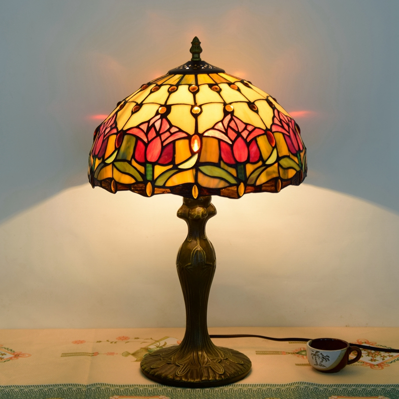 Eusolis 12 Inch Stained Glass Abajur Vintage Table Lamp Home Art Decoration Table  Lamps For Living Room Mesa De Luz Abajur