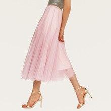 AcFirst Розовый Черный Серый летние женские юбки мода Высокая талия бальное платье сетка до середины икры длинная юбка одежда плюс размер s m l