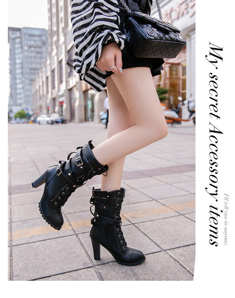 HUANQIU 2019 fashion ladies boots spring zipper rivet thick middle boots high heel Martin boots large size 43 women shoes ZLL675 14