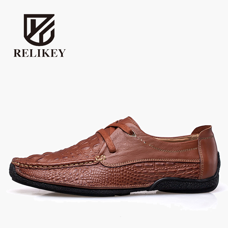RELIKEY Brand Casual Lace-Up Moccasins Men Shoes Genuine Leather High Quality Summer Solid Breathable Driving Shoes For Men relikey brand men casual handmade shoes cow suede male oxfords spring high quality genuine leather flats classics dress shoes