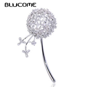 Blucome Brooches Accessories Jewelry-Pins Scarf Dandelion-Shape Gifts Women Copper