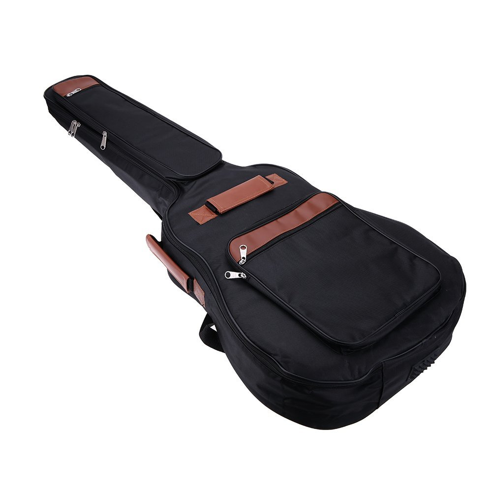 2Pcs 41 Guitar Backpack Shoulder Straps Pockets 8mm Cotton Padded Bag Case 40 41inch acoustic classical guitar bag case backpack adjustable shoulder strap portable 4mm thicken padded black