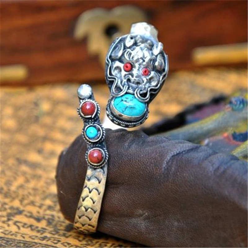 BB-271 Tibetan Silver Inlaid Multi Stone Dragon Amulet Open Cuff Bangle Nepal Vintage Handmade Jewelry open cuff bangle