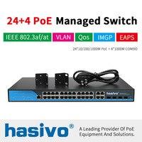 24 Порты и разъёмы управляемый Poe коммутатор Ethernet 400 W managment коммутатор с 24 Порты и разъёмы 10/100/1000 M Rj45 PoE 4 Порты и разъёмы SFP волокна COMBO