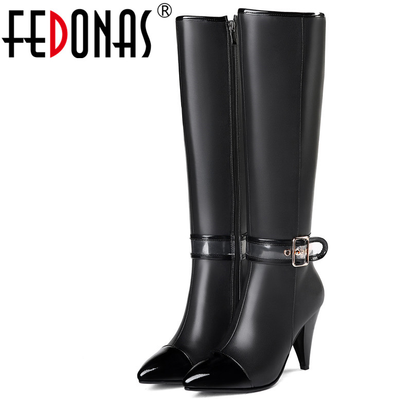 FEDONAS Fashion Women Knee High Boots High Heels Long Warm Snow Boots Pointed Toe Knight Boots Ladies Buckles High Boots high boots eva lopez high boots