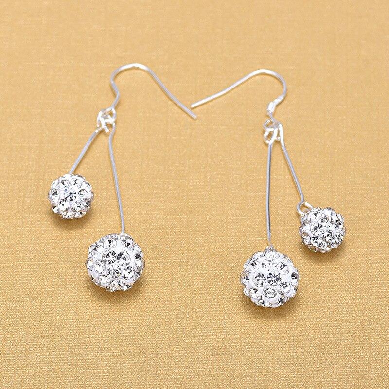 Купить модные элегантные серьги подвески из серебра 925 пробы с двойным