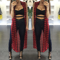 3 Different Wearing 2017 Summer  Style Women Casual Loose Long Plaid Blouses Sleeveless Split Shirts Lapel Tops Cardigan Blouse