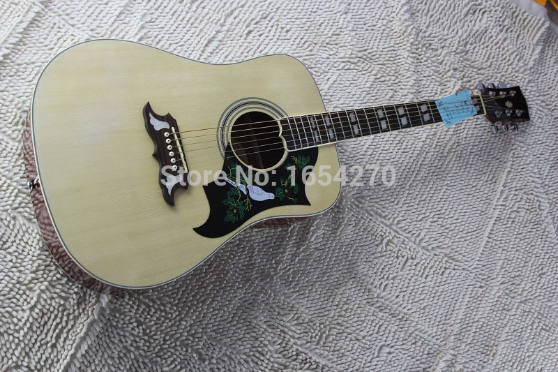 NEW + free shipping + dove acoustic dreadnought guitar natural solid spruce acoustic Guitar 150810-1 free shipping top quality solid spruce top j 185ec acoustic guitar natural wooden acoustic guitar