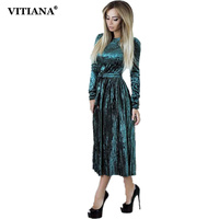 VITIANA Women Maxi Long Casual Velvet Dress Female Autumn Green Blue Long Sleeve A Line Vintage