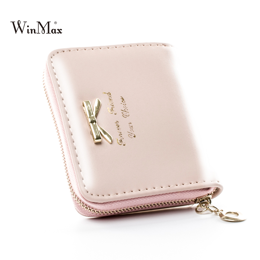 Winamx Candy Colors Bow Design Women Leather Wallet Short pink Mini Money bag Wallet Coin Card girls Purses Holders Clip