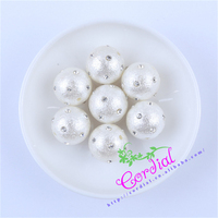 Free Shipping 50Pcs Lot 18MM Rhinestone Crystal On Stardust Pearl Ball Chunky Beads For Jewelry DIY