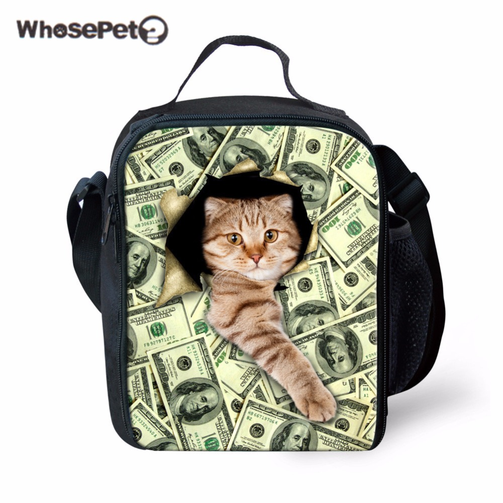 WHOSEPET Portable Insulation Bags for Kids Lunch Bags Tote Women Spring Tour Picnic Bags Cooler Bags 3D Cute Little Cat Print