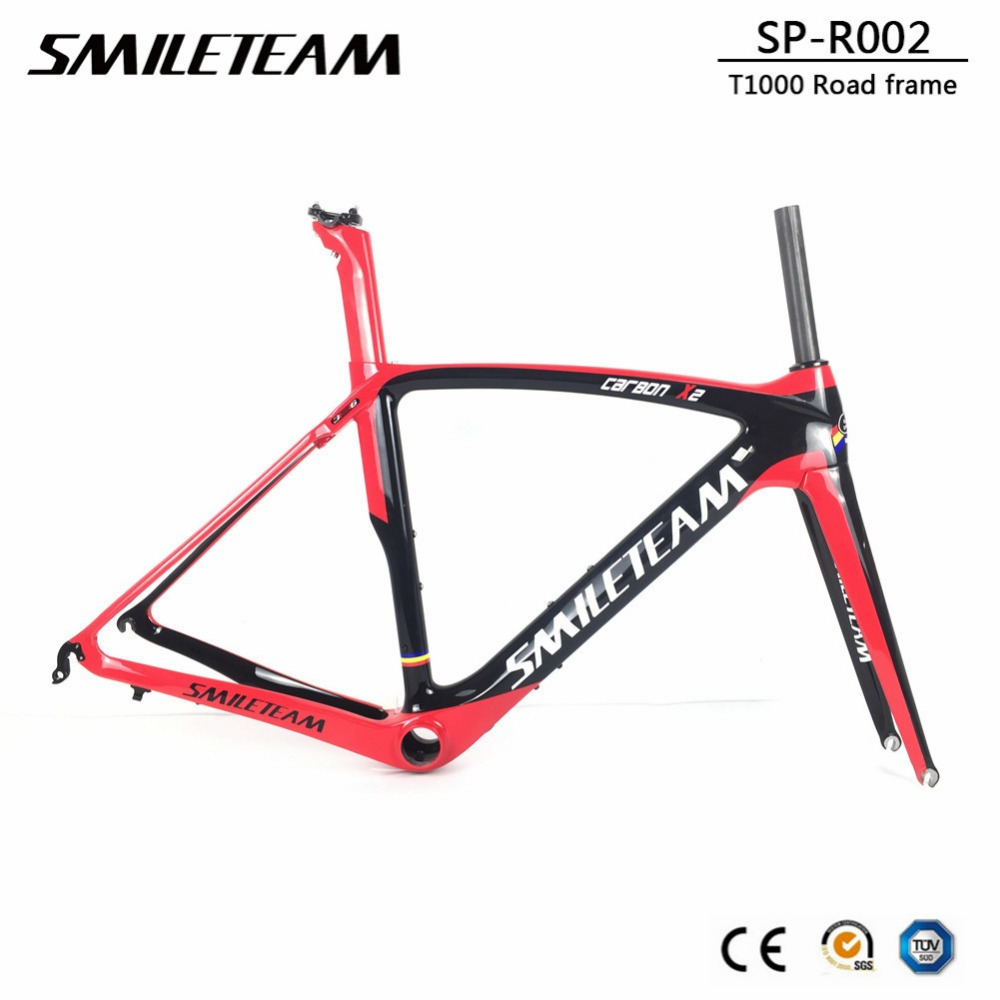 SmileTeam 2019 New Carbon Road Bike Frame T1000 Carbon Di2 & Mechanical Racing Bicycle Frameset With Fork Seatpost Headset BB386