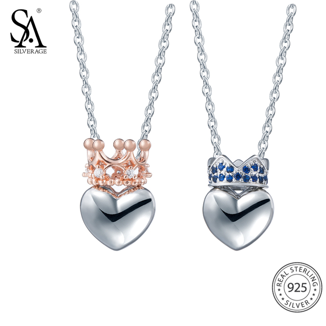 SA SILVERAGE Heart Shaped Crown Pendants Necklaces With Zircon Women