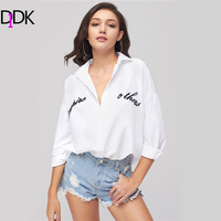 DIDK Women S Letter Embroidery Blouse White Collar 3 4 Sleeve Work Wear Cool Blouses 2017