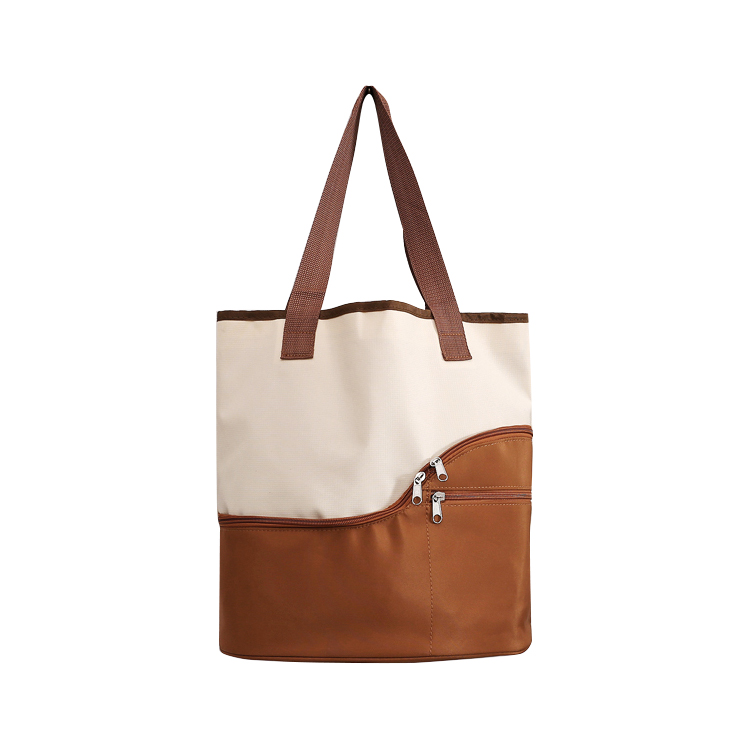 Oxford Promotional shopping Tote bags with Front Zippered Pockets Available for Custom