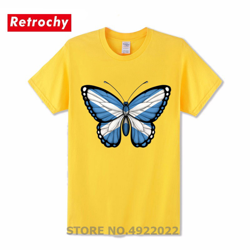 Novelty Scotland Flag Print Men Pure Cotton T Shirt Creative Butterfly Design Scottish Flag T-Shirt Leisure insect Tshirt Hombre