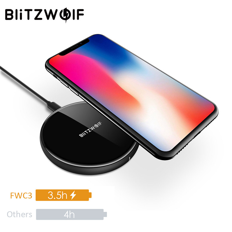 BlitzWolf 5W QI Wireless Charger For iPhone X 8 Plus For Samsung S8 Note 8 S9 Desktop Mobile Phone Charging Pad Dock Charger