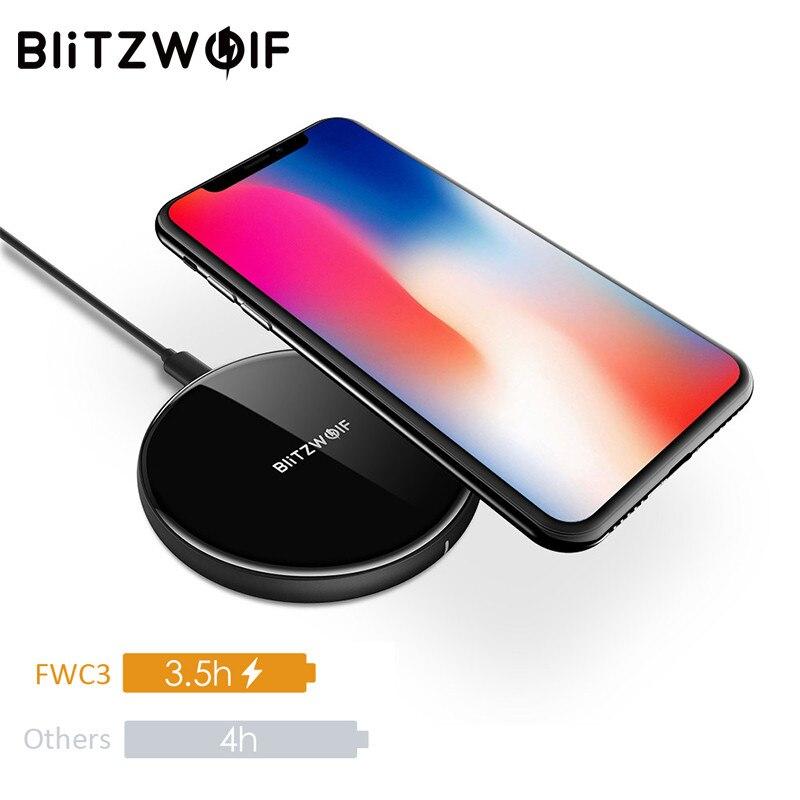 BlitzWolf 5 W QI Sans Fil Chargeur Pour iPhone X 8 Plus Pour Samsung S8 Note 8 S9 De Bureau Mobile Téléphone De Charge Pad Dock chargeur