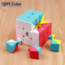 qiyi warrior w 3x3x3 tres capas Magic Cube Profissional Competition Speed ​​Cubo mágico Stickers Puzzles Cubo juguetes para niños