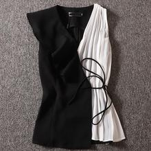 chiffon shirt women sleeveless summer 2020 new fashion contrast color stitching