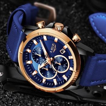 2019 Fashion Blue Leather Clock LIGE Mens Watches Top brand Luxury Quartz Gold Watch For Men Waterproof Chronograph Reloj Hombre 1