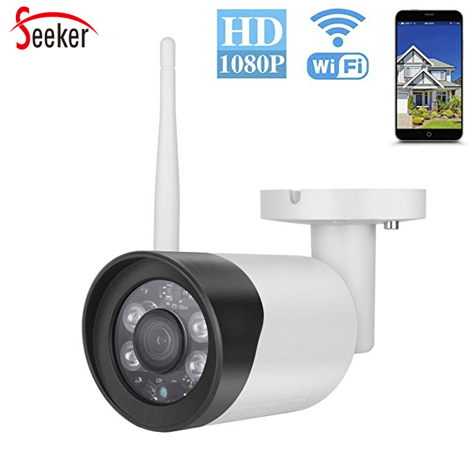 Seeker New 2.0MP Wireless Cameras 1080P Outdoor Wifi Camera IP66 Waterproof Two Way Audio TF Card P2P Cloud Motion DetectionSeeker New 2.0MP Wireless Cameras 1080P Outdoor Wifi Camera IP66 Waterproof Two Way Audio TF Card P2P Cloud Motion Detection
