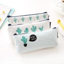 1 Pc Cactus Canvas School Pencil Case Stationery Storage Organizer Pen Bags Pouch Kawaii Pencil Bag Escolar Papelaria Pencilcase