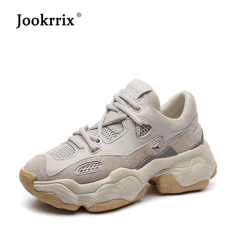 Jookrrix Brand Casual Shoes Women Patchwork Sneakers Platform zapatos de mujer Genuine Leather chaussures femme Ladies