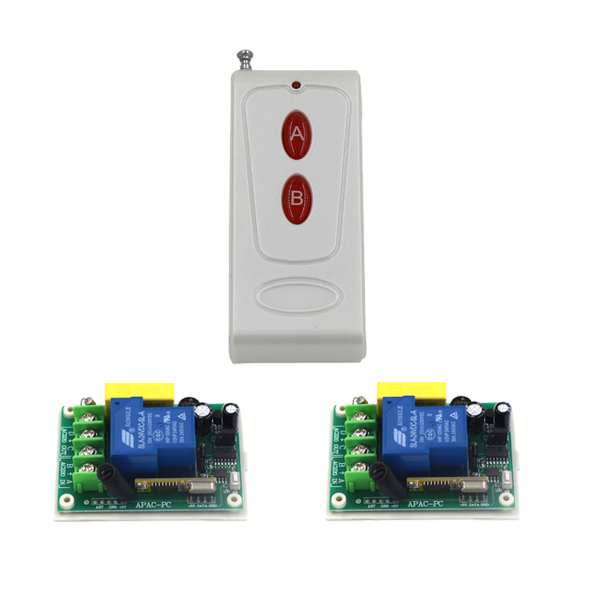 RF Wireless Remote Control Switch 1X 433MHZ 2CH Transmitter + 2 X 220V 30A 1CH Receivers Home Smart Control Switch SKU: 5524